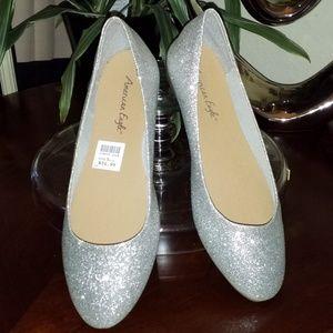 American Eagle silver sparkling glitter flats